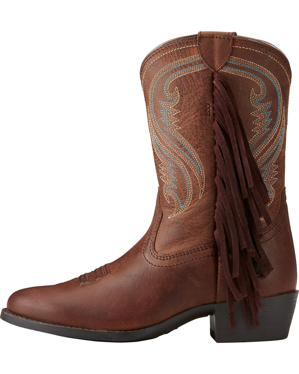 Ariat Girls' Fancy Western Sassy Fringe Cowgirl Boots - Round Toe, , hi-res