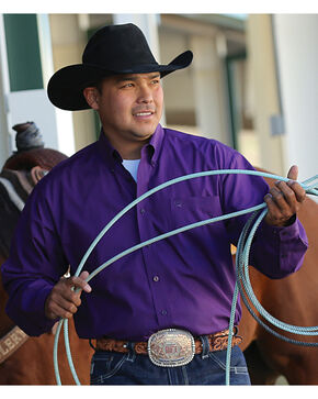 Cinch Men's Purple Geometric Print Western Shirt , Purple, hi-res