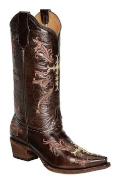 Circle G Chocolate Cross Embroidered Cowgirl Boots - Snip Toe, , hi-res