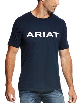 Ariat Men's Navy Branded Tee , Navy, hi-res