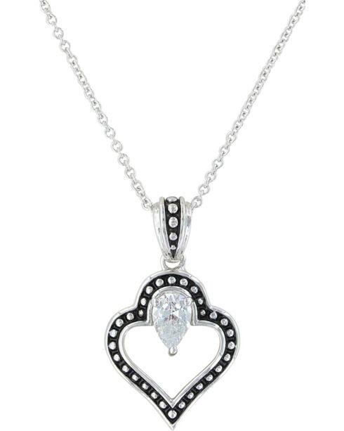 Montana Silversmiths Women's Spade Of Hearts Necklace , Silver, hi-res