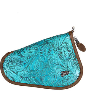 Justin Women's Turquoise Floral Tooled Small Leather Pistol Case , Turquoise, hi-res