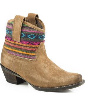 Roper Women's Tan Beccy Bright Western Boots - Snip Toe , Tan, hi-res