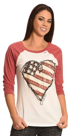 Bohemian Cowgirl Women's American Heart Baseball Tee, Red, hi-res