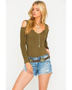 Sage the Label Women's Harley Ribbed Bodysuit, Olive, hi-res
