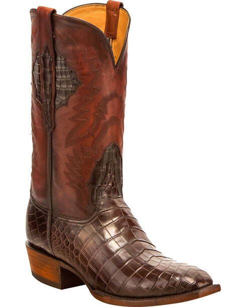 Lucchese Men's McKinley Nile Crocodile Western Boots - Square Toe, Chocolate, hi-res
