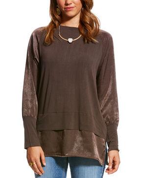 Ariat Women's Dobson Long Sleeve Top , Dark Brown, hi-res