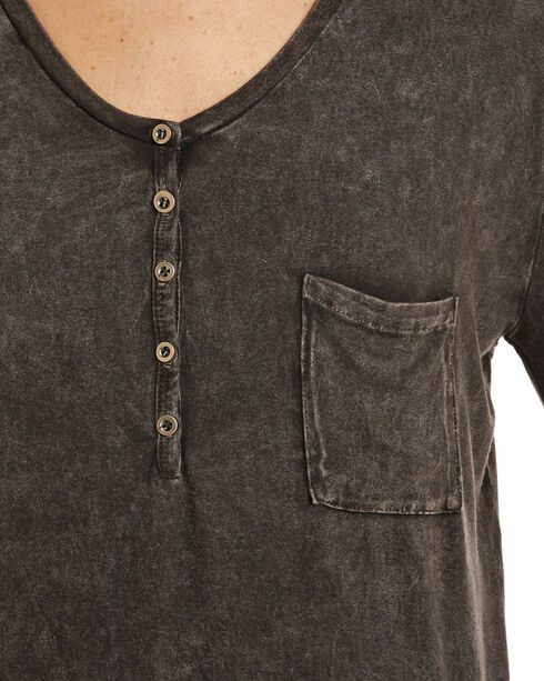 Rock & Roll Cowgirl Women's Mineral Wash Henley, Black, hi-res