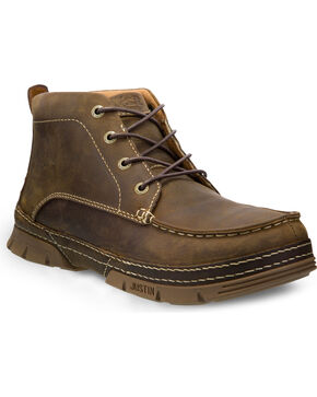 "Justin Men's Tobar Brown 5"" Lace-Up Work Boots - Steel Toe, Brown, hi-res"