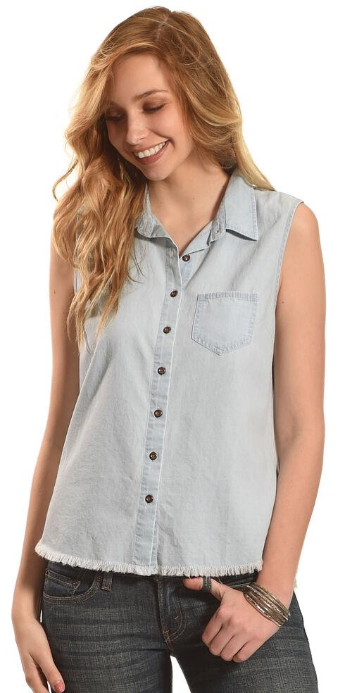 Derek Heart Women's Sleeveless Denim Button Down Shirt, Light Blue, hi-res