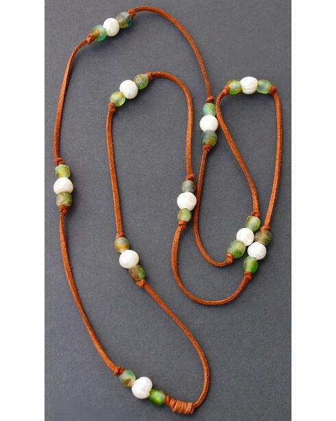 """2 Queen B's Women's Camel 48"""" Suede Ghana Bead Necklace , Green, hi-res"""