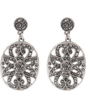 Shyanne Women's Rhinestone Filigree Earrings, Silver, hi-res