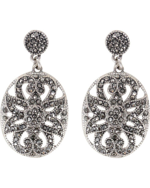 Shyanne Women's Rhinestone Filigree Earrings, Silver, hi-res