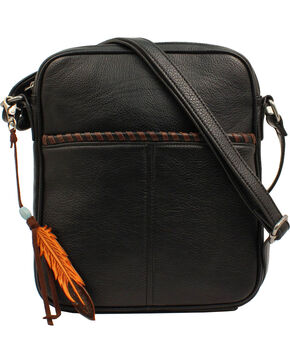 Blazin Roxx Women's Teagan Feather Tassel Concealed Carry Crossbody Bag, Black, hi-res