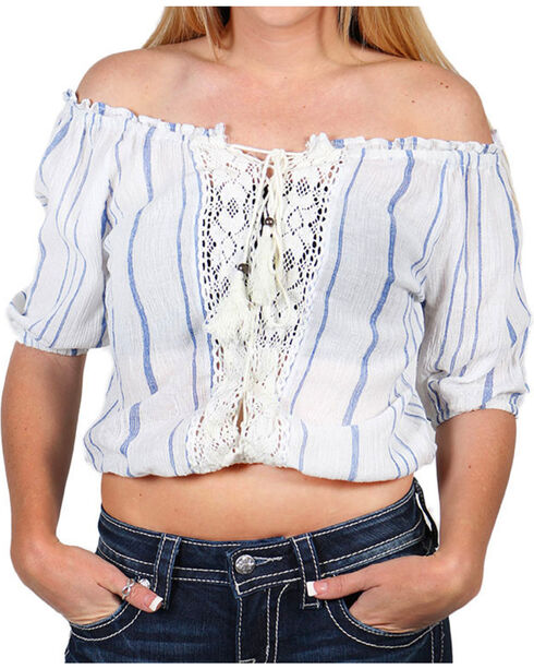 Angie Women's Ivory Striped Crop Top , Ivory, hi-res