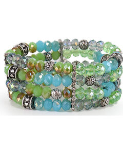 Shyanne Women's Multi-Layered Beaded Bracelet, Silver, hi-res