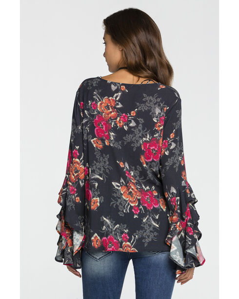Miss Me Women's Criss Cross Neck Floral Top, Charcoal, hi-res
