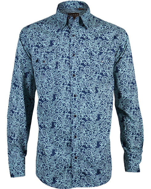 Roper Men's Blue Paisley Long Sleeve Shirt, Blue, hi-res