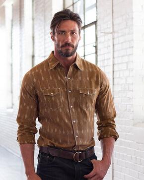 Ryan Michael Men's Earth Ikat Arrow Stripe Shirt , Brown, hi-res