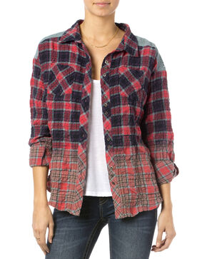 Miss Me Red Plaid Wrinkle Crochet Shirt  , Red, hi-res