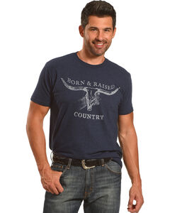 Cody James Men's Born & Raised Country Short Sleeve T-Shirt, Heather Blue, hi-res