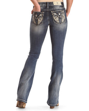 "Miss Me Women's Wing Flap Pocket Boot Cut Jeans - 34"" Inseam , Blue, hi-res"