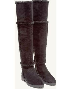 Frye Women's Black Suede Tamara Shearling OTK Boots - Round Toe , Black, hi-res