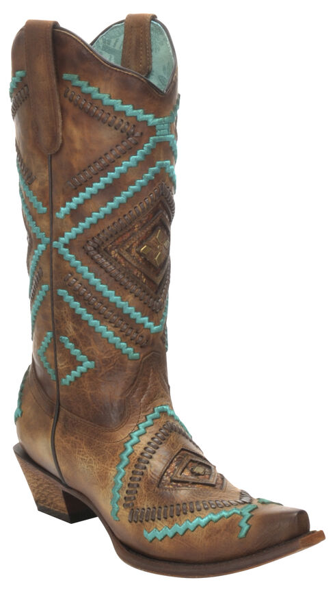 Corral Honey Embroidered Woven Cowgirl Boots - Snip Toe, Honey, hi-res