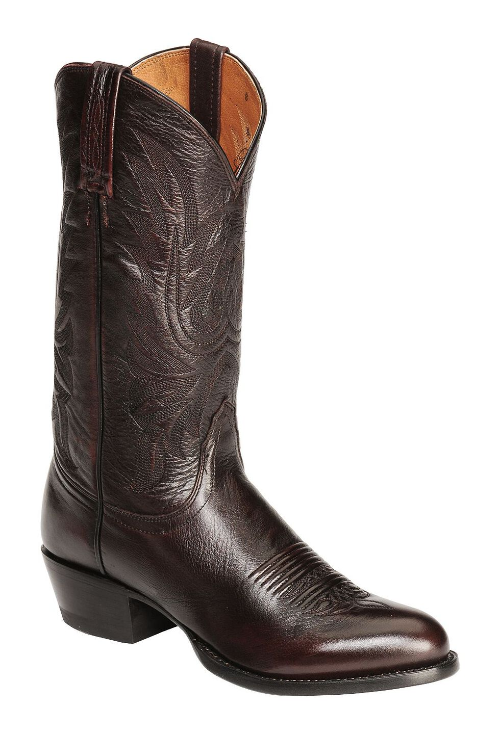 Lucchese Handcrafted Lonestar Calf Cowboy Boots - Medium Toe, Black Cherry, hi-res