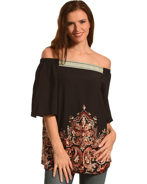 Miss Me Women's Black Embroidered Off The Shoulder Top , Black, hi-res