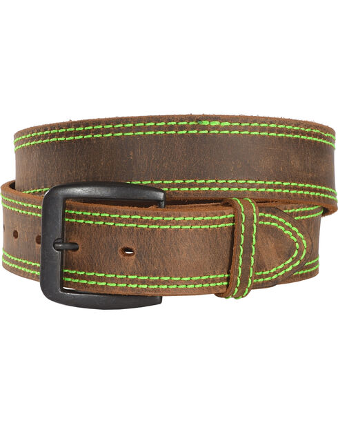 3D Men's Brown Neon Stitching Leather Belt , Brown, hi-res