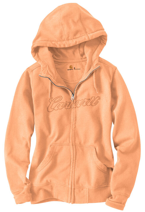 Carhartt Clarksburg Zip-Front Hooded Sweatshirt, Peach, hi-res