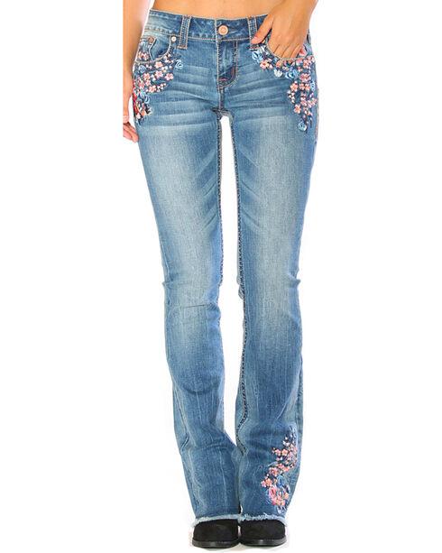 Grace in LA Women's Light Indigo Floral Embroidered Jeans - Boot Cut , Indigo, hi-res