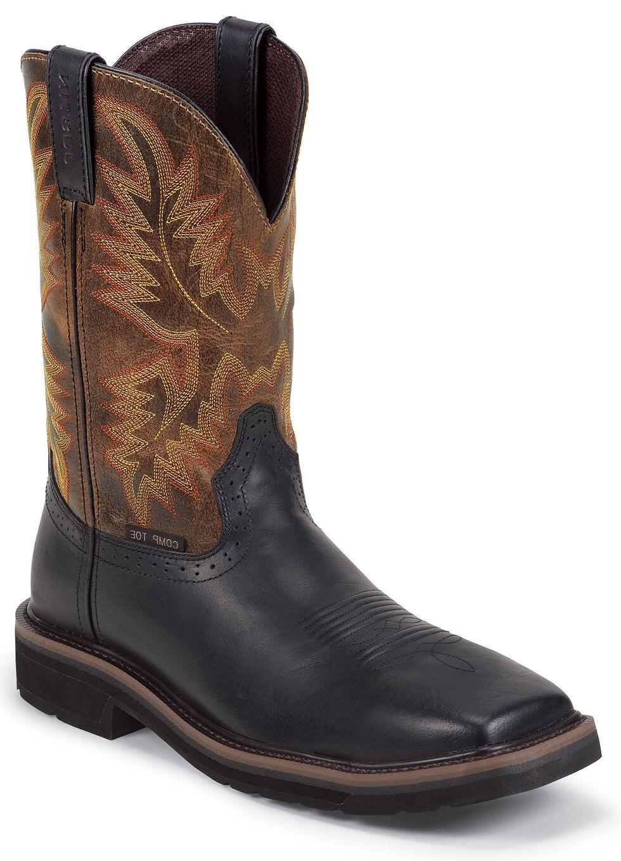 Justin Men's Driller Black Electrical Hazard Work Boots - Composite Toe, Black, hi-res