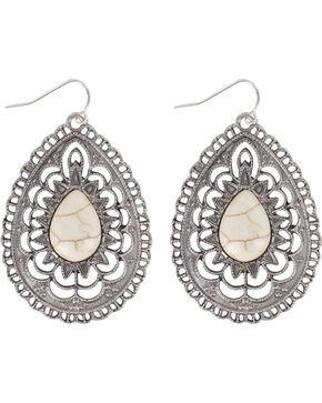 Shyanne Women's Oval Bone Earrings , Silver, hi-res