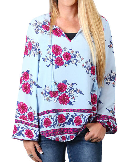 Shyanne Women's Floral Long Sleeve Blouse , Light/pastel Blue, hi-res