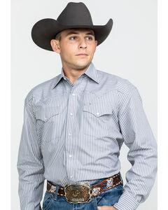 Stetson Men's Grey Two Pocket Striped Western Snap Shirt, Grey, hi-res