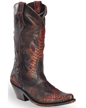 Liberty Black Women's Mossil Cafe Python Embossed Overlay Cowgirl Boots - Pointed Toe, Taupe, hi-res