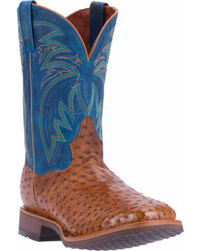Dan Post Men's Tan Freestone Full Quill Ostrich Boots - Square Toe , Tan, hi-res