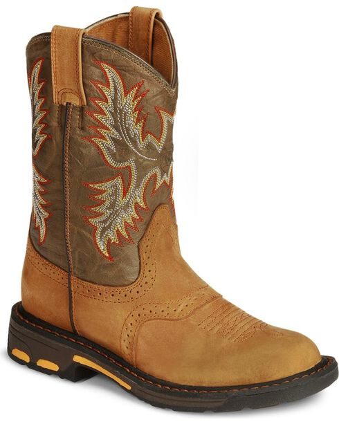 Ariat Boys' Aged Bark Workhog Cowboy Boots - Round Toe, Aged Bark, hi-res