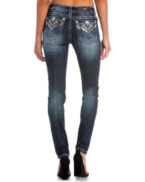 Miss Me Women's Indigo Broken Dreams Embellished Pocket Skinny Jeans - Plus, Indigo, hi-res