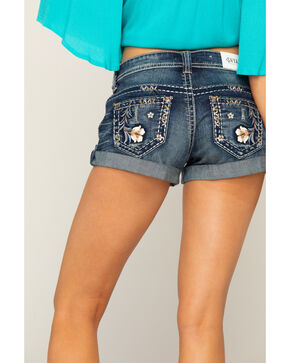 Shyanne Women's Floral Embroidered Cuffed Denim Shorts, Blue, hi-res