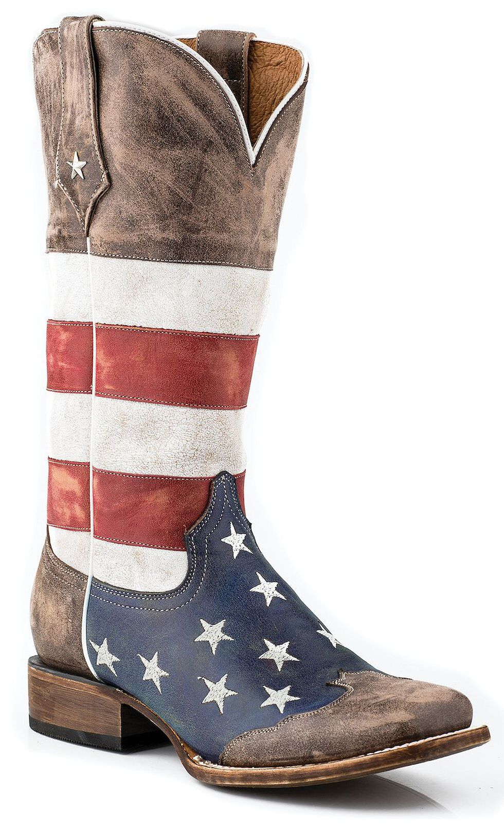Roper Distressed American Flag Cowgirl Boots - Square Toe, Brown, hi-res