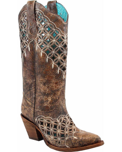 Women's Cutout and Embroidery Cowgirl Boot Pointed Toe - A3348