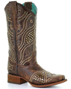 Corral Women's Gold Studded Cowgirl Boots - Square Toe, Brown, hi-res