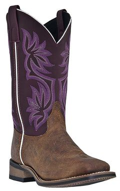 Laredo Fancy Stitched Purple Cowgirl Boots - Square Toe, , hi-res
