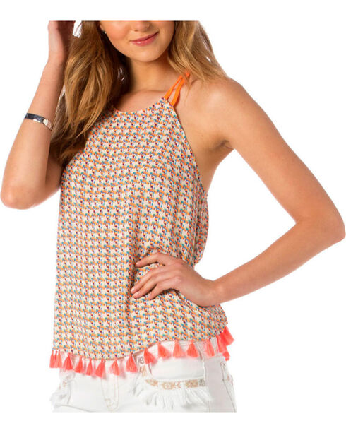 Miss Me Women's Island Fantasy Tank, Taupe, hi-res