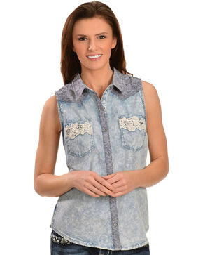 Miss Me Women's Dream In Denim Sleeveless Top, Blue, hi-res