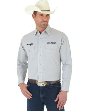 Wrangler Jack Daniel's Logo Grey and White Plaid Shirt, Grey, hi-res