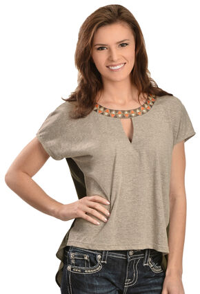Miss Me High-Low Aztec Collar Top, Khaki, hi-res